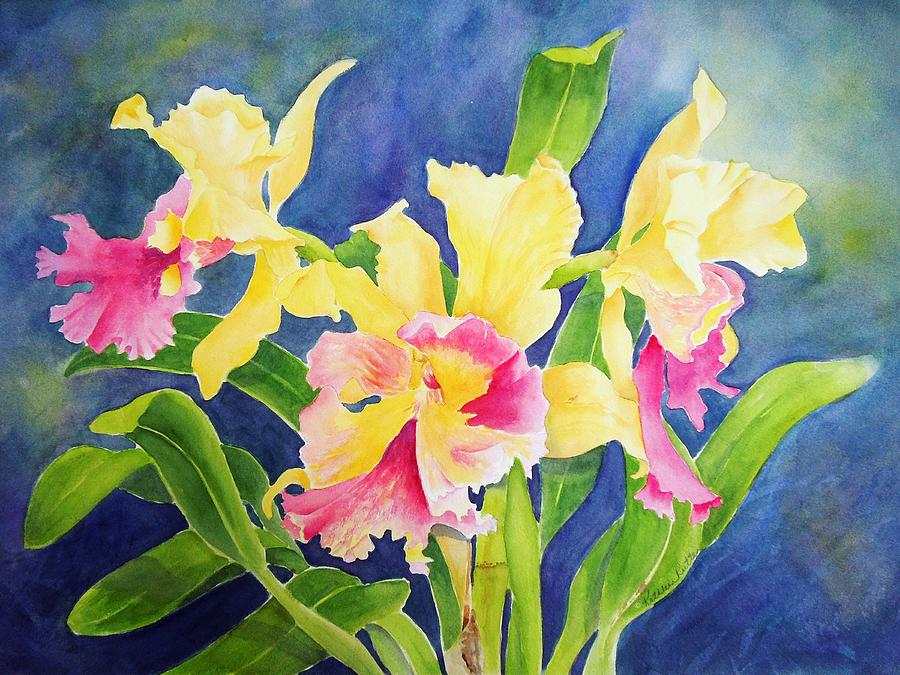 Tropical Floral Painting - Three Cattleyas by Kathleen Rutten