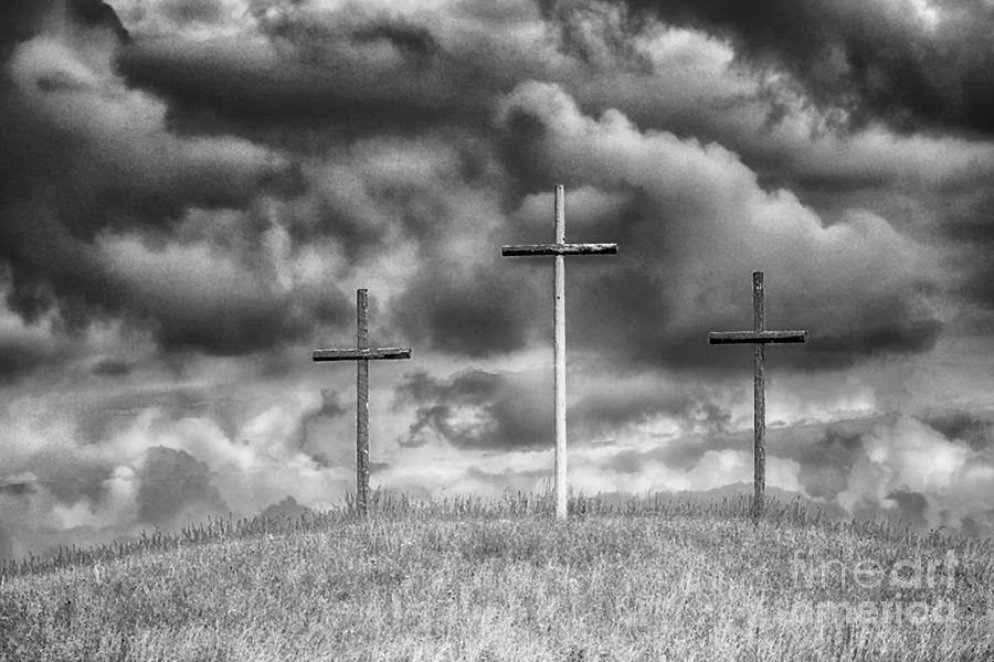 Cross Photograph - Three Crosses On Hill by Thomas R Fletcher