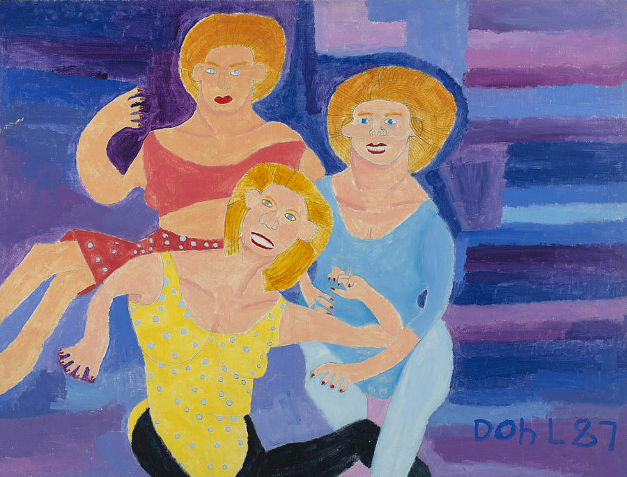 Naive Painting - The Yoga Girls by Don Larison