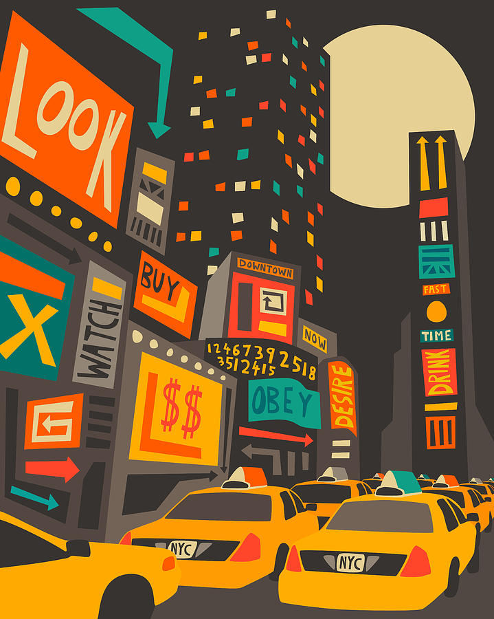Time Square Digital Art - Time Square by Jazzberry Blue