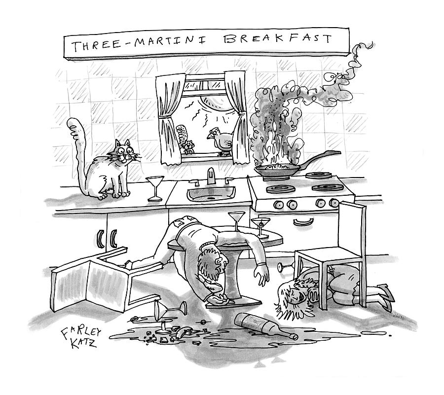 Captionless; Three-martini Breakfast Drawing by Farley Katz
