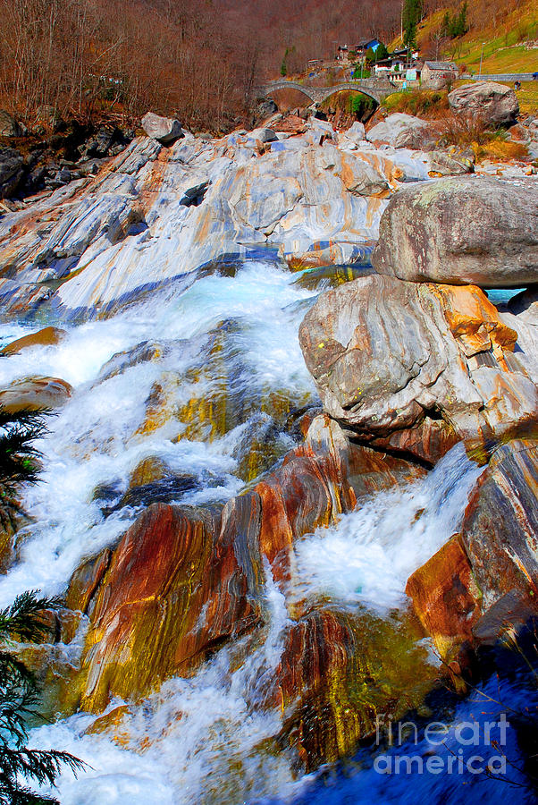 Rocks Photograph - Vibrant Colored Rocks Verzasca Valley Switzerland by Lilianna Sokolowska