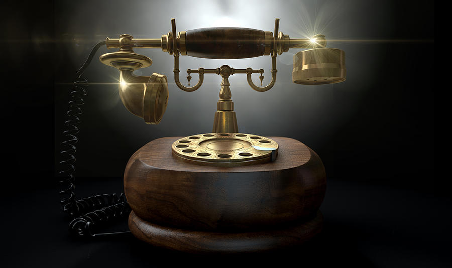 Old Digital Art - Vintage Telephone Dark Isolated by Allan Swart