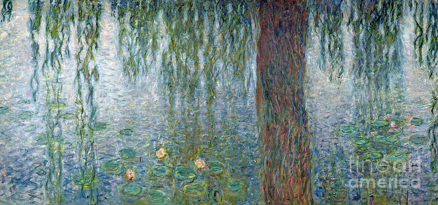 Impressionist Painting - Waterlilies Morning With Weeping Willows by Claude Monet