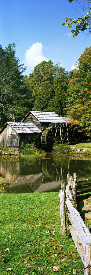 Vertical Photograph - Watermill Near A Pond, Mabry Mill, Blue by Panoramic Images