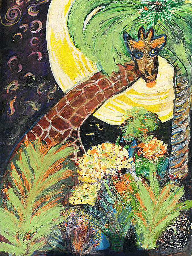 Giraffe Painting - What Are You Up To Giraffe? by Anne-Elizabeth Whiteway