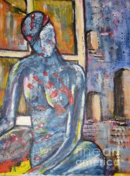 Figure Painting - Woman Blue by Chaline Ouellet