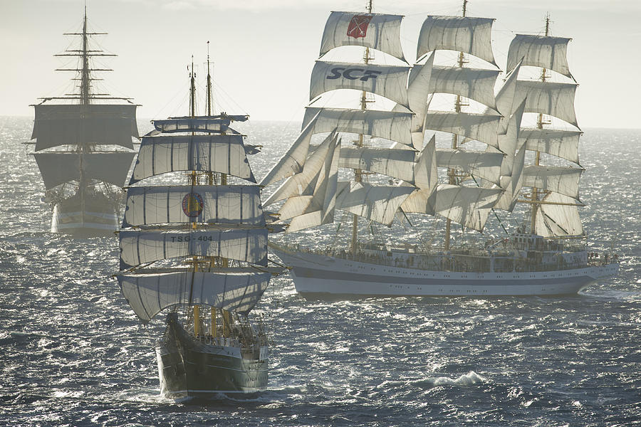 Ships Photograph - 3 X Tall Ships by Gilles Martin-Raget