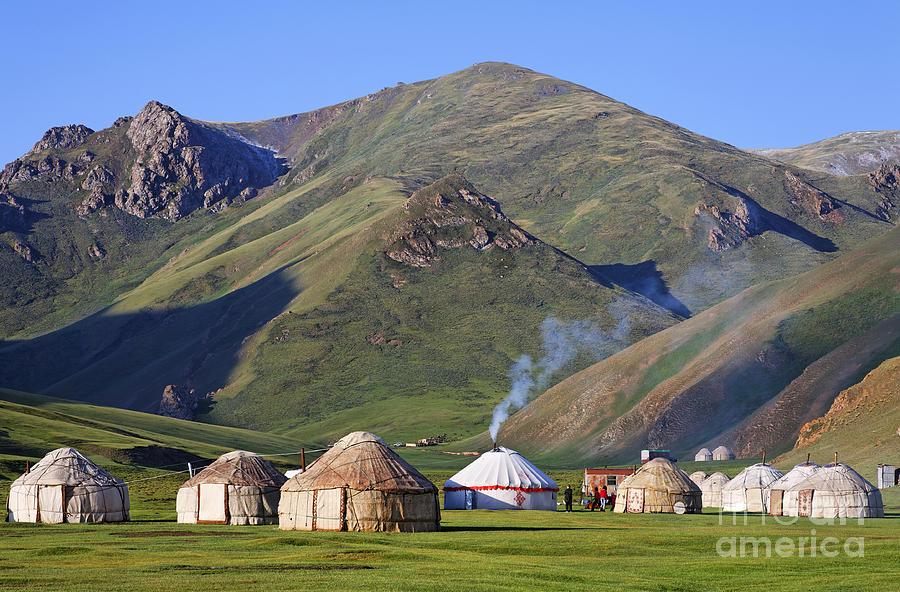 Tash Photograph - Yurts In The Tash Rabat Valley Of Kyrgyzstan  by Robert Preston