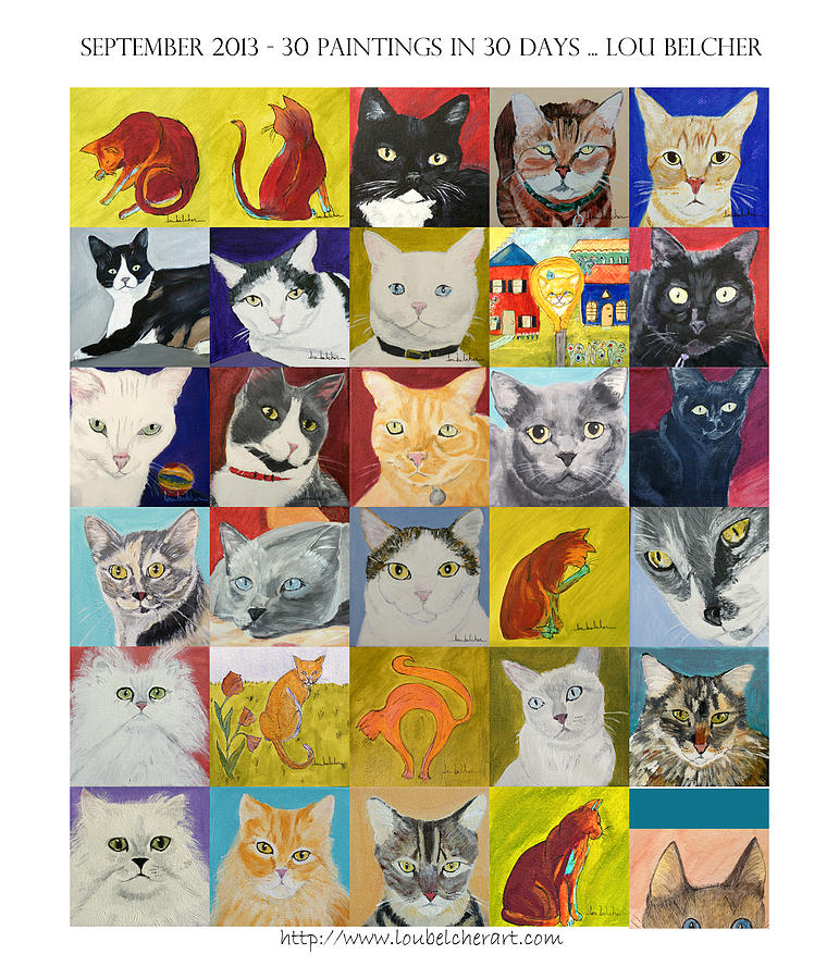Cats Painting - 30 Paintings in 30 Days - September 2013 by Lou Belcher