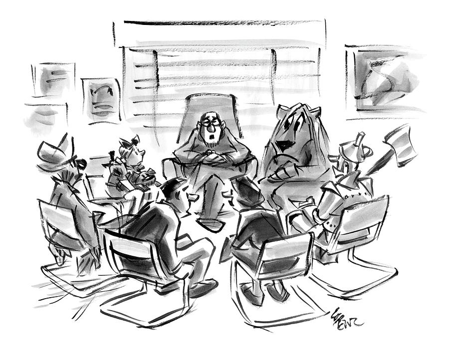 Group Therapy Drawing - New Yorker August 4th, 2008 by Lee Lorenz