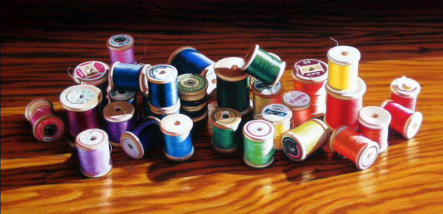 Thread Painting - 30 Wooden Spools by Dianna Ponting
