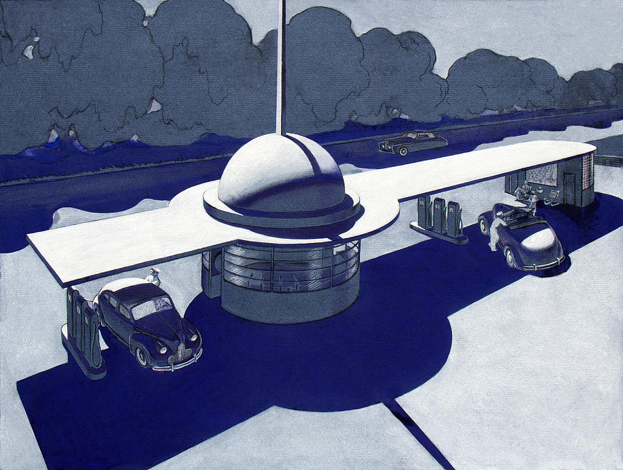 Streamline Moderne Painting - Roadside Of Tomorrow by Robert Poole