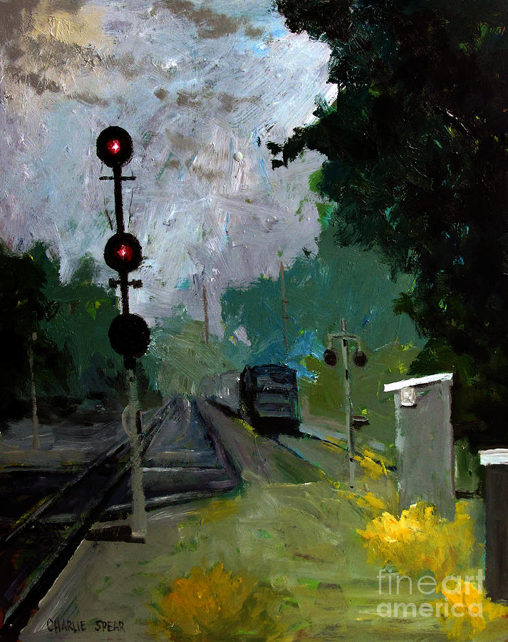 Railroads Painting - 308 Cloudy With A Chance Of Rain by Charlie Spear