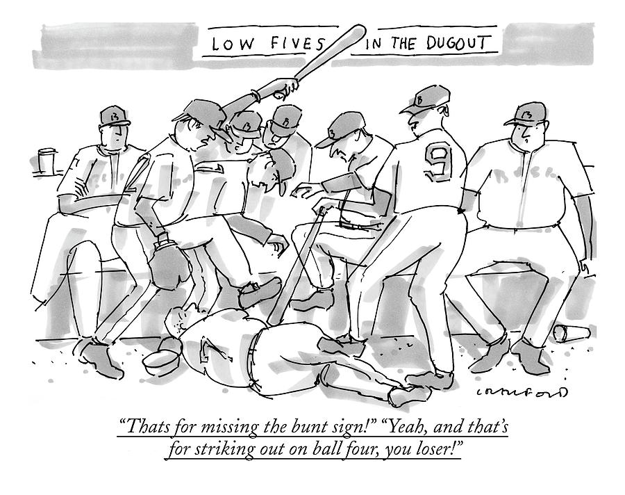 Thats For Missing The Bunt Sign! yeah Drawing by Michael Crawford