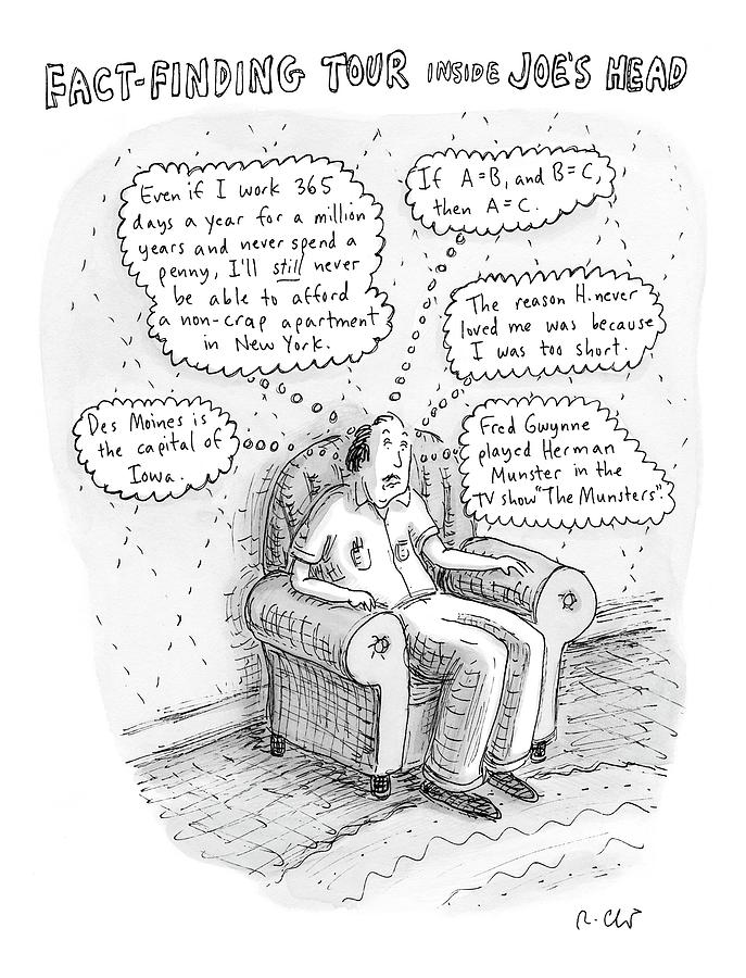 Facts Drawing - New Yorker March 3rd, 2008 by Roz Chast
