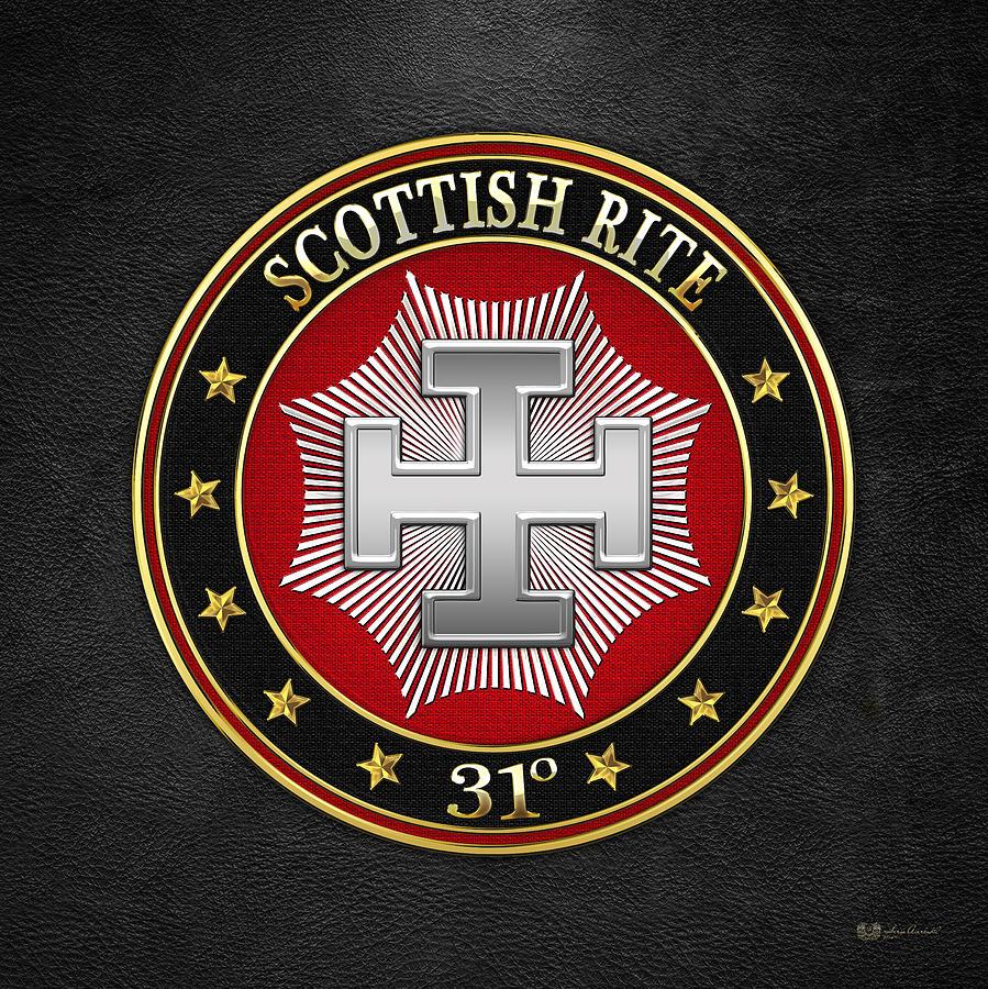 Scottish Rite Digital Art - 31st Degree - Inspector Inquisitor Jewel On Black Leather by Serge Averbukh