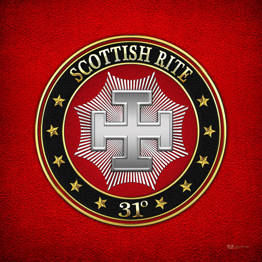 Scottish Rite Digital Art - 31st Degree - Inspector Inquisitor Jewel On Red Leather by Serge Averbukh