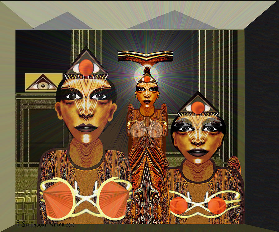 Woman Digital Art - 338 - Aliens With Egyptian Touch by Irmgard Schoendorf Welch