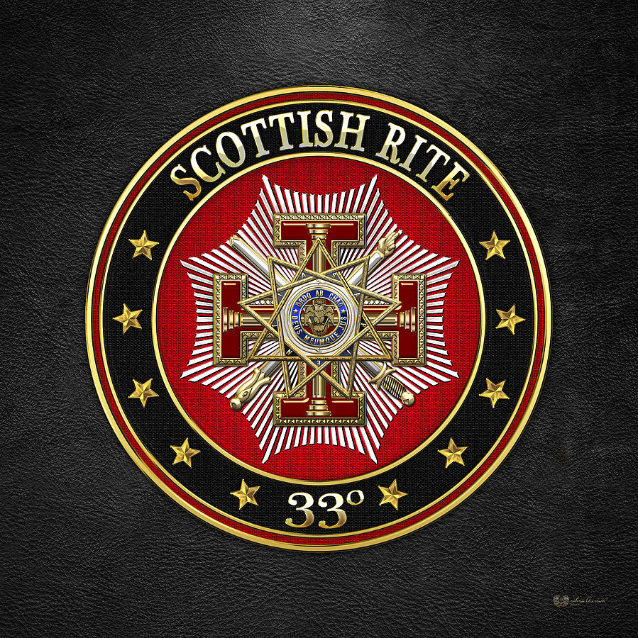 Scottish Rite Digital Art - 33rd Degree - Inspector General Jewel On Black Leather by Serge Averbukh