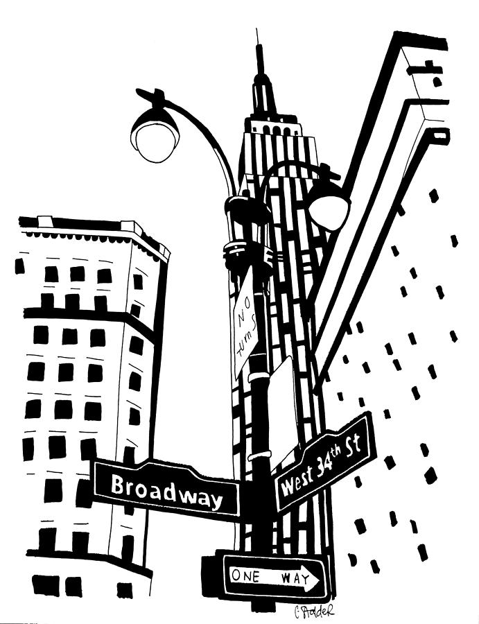 34th And Broadway Drawing By Candace Stalder