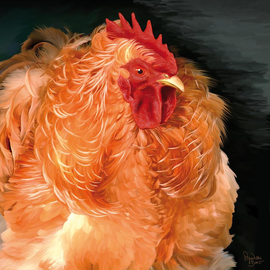 Chicken Digital Art - 36. Frizzled Buff Cochin  by Sigrid Van Dort