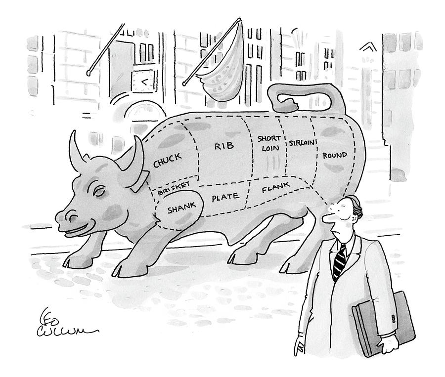 Wallstreet Bull Drawing by Leo Cullum