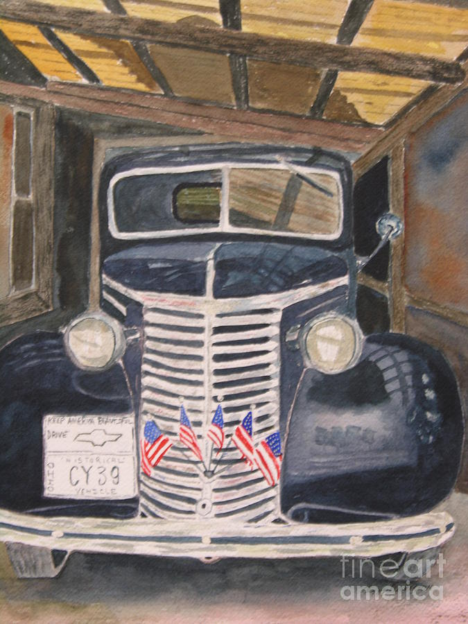Antique Painting - 39 Chevy by Peggy Dickerson