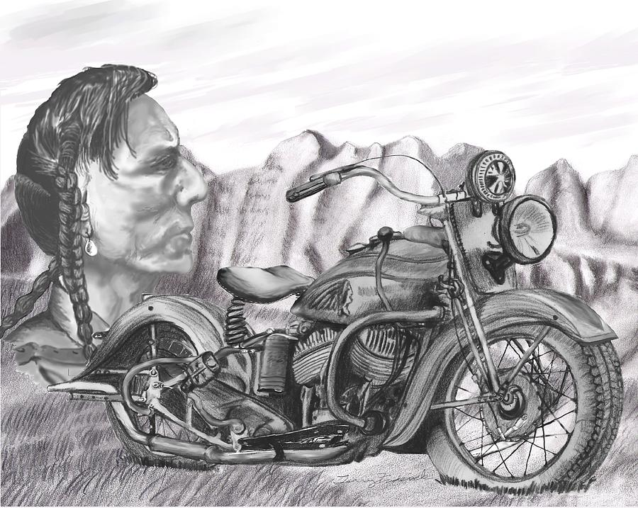 Motorcycle Drawing - 39 Scout by Terry Frederick