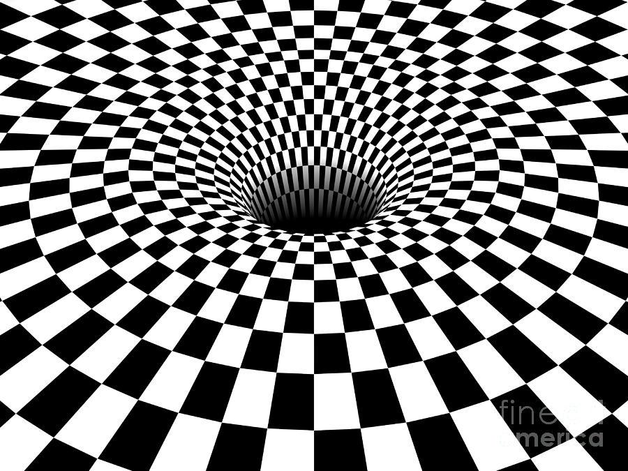Horizontal Line Art : D checkered black hole horizontal version digital art by shazam