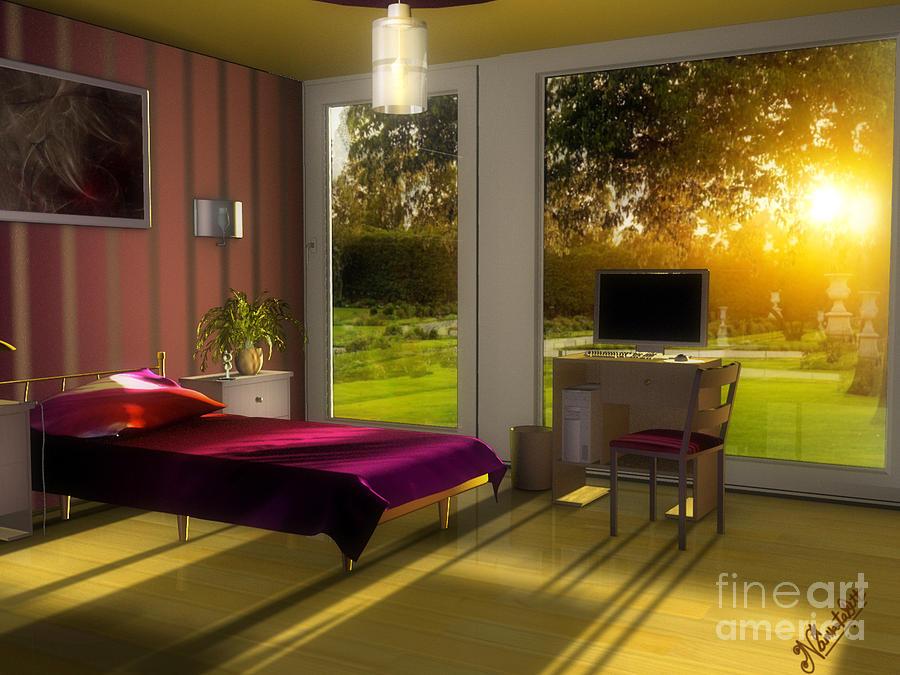 Interior Digital Art - 3d Lighting Bedroom-interior by Artist Nandika  Dutt