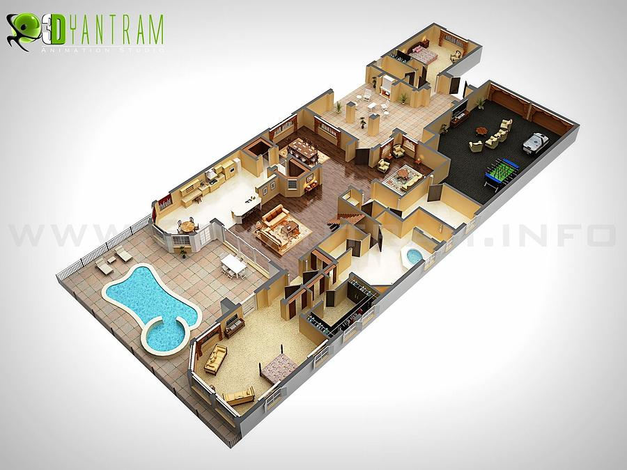 3d Mixed Media   3d Modern Floor Plan Design Seoul By Rachana Desai