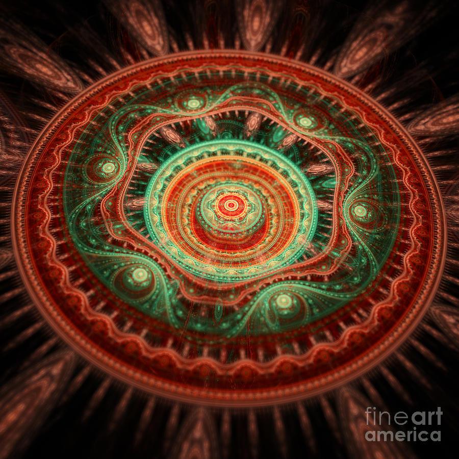 3d Red And Green Mandala Digital Art