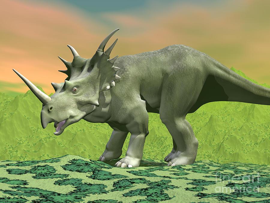 3d Rendering Of A Styracosaurus Digital Art