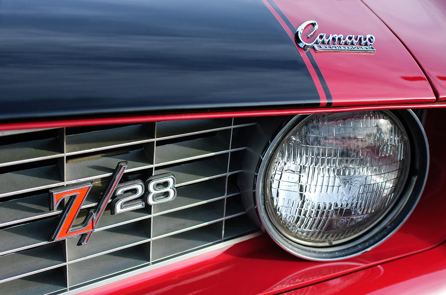 1969 Chevy Photograph - 1969 Chevrolet Camaro Z-28 Grille Emblem by Jill Reger