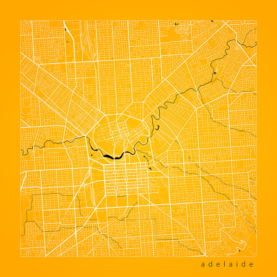 Adelaide Street Map - Adelaide Australia Road Map Art On Color ...