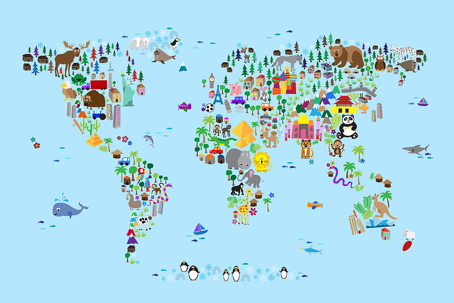 Animal map of the world for children and kids digital art by michael map of the world digital art animal map of the world for children and kids gumiabroncs Image collections