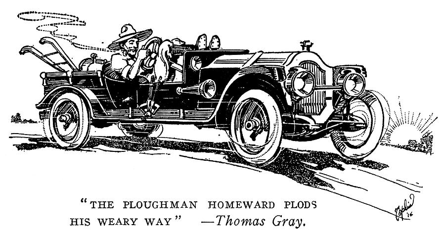 1914 Painting - Automobile Cartoon, 1914 by Granger