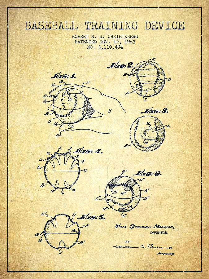 Baseball Training Device Patent Drawing From 1963 Digital Art