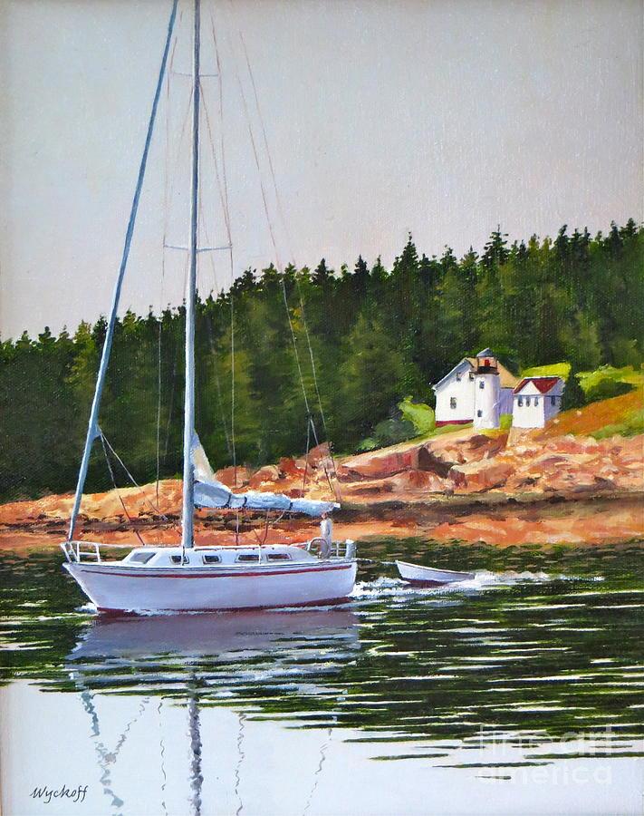Sailboat Painting - Bass Harbor Light by Karol Wyckoff