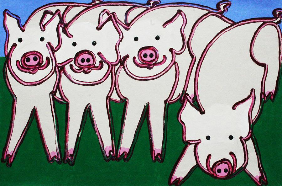 Pigs Painting - 4 Beige Pigs by Matthew Brzostoski