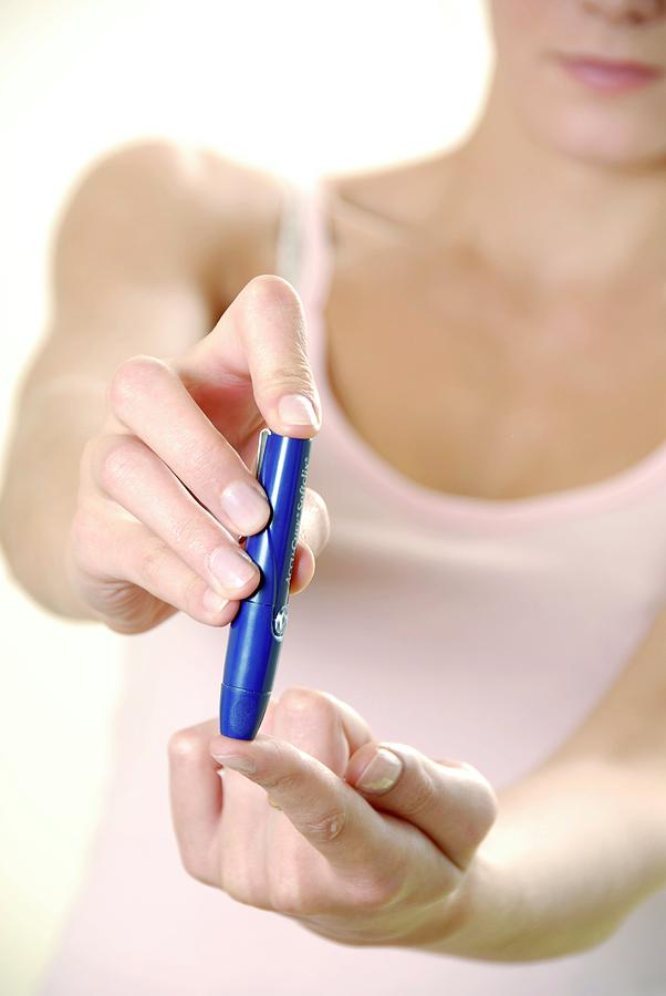 Equipment Photograph - Blood Glucose Testing by Aj Photo/science Photo Library