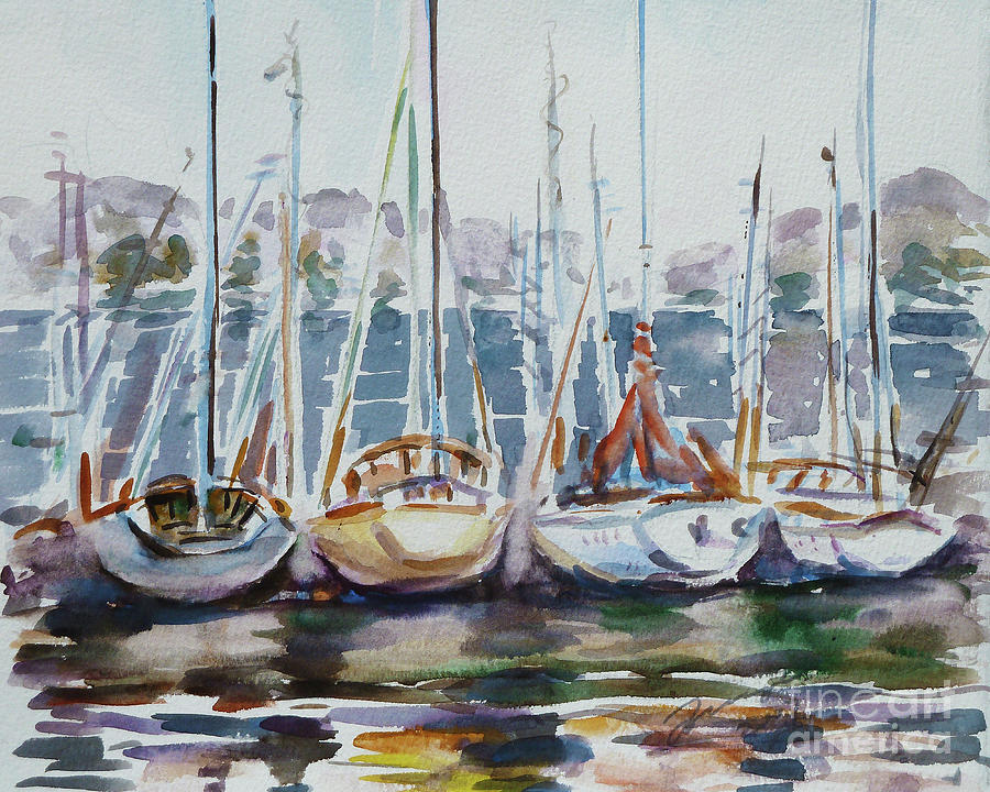 Boats Painting - 4 Boats by Xueling Zou