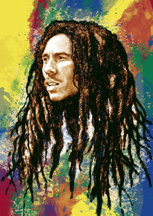 Bob Marley Stylised Pop Art Drawing Potrait Poser By Kim Wang
