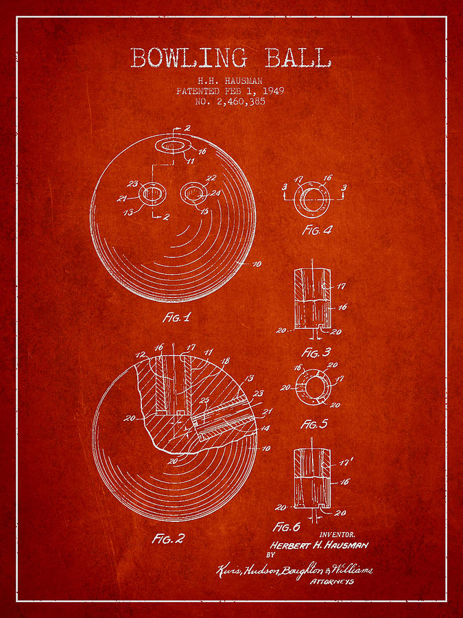 Bowling Ball Digital Art - Bowling Ball Patent Drawing From 1949 by Aged Pixel