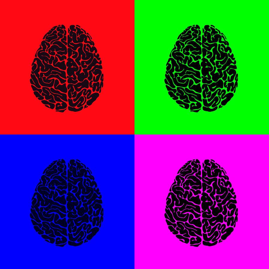 Brains Digital Art - 4 Brain Pop Art Panel by Daniel Hagerman