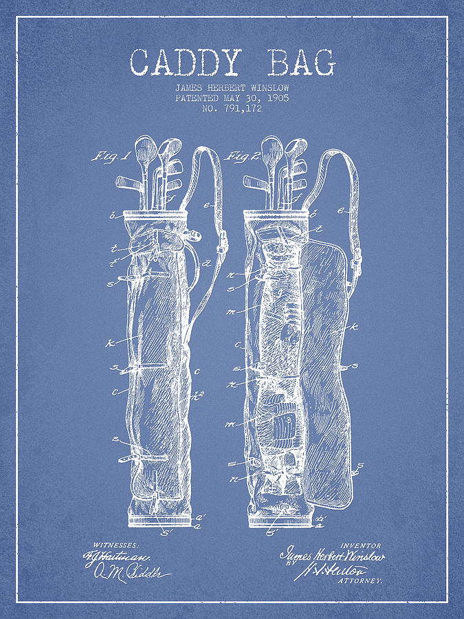 Caddy Bag Patent Drawing From 1905 Digital Art