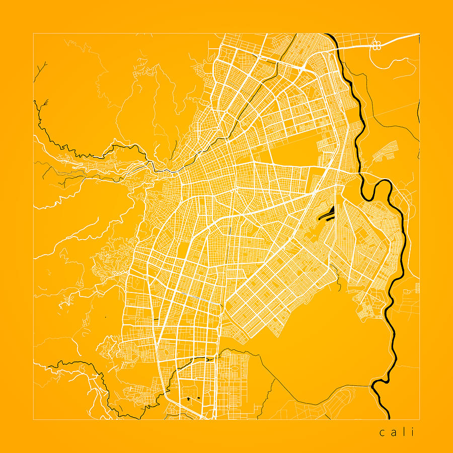 Road Map Digital Art - Cali Street Map - Cali Colombia Road Map Art on Color by Jurq Studio