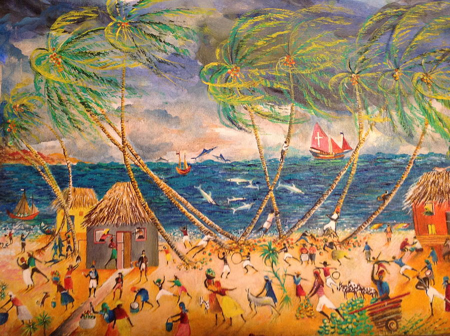 Scenery Of A Typical Caribbean Village By The Sea Painting - Caribbean Village by Egidio Graziani