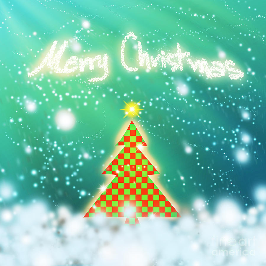Backdrop Digital Art - Chess Style Christmas Tree 4 by Atiketta Sangasaeng